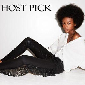 J Brand black crystal fringe high rise skinny jeans